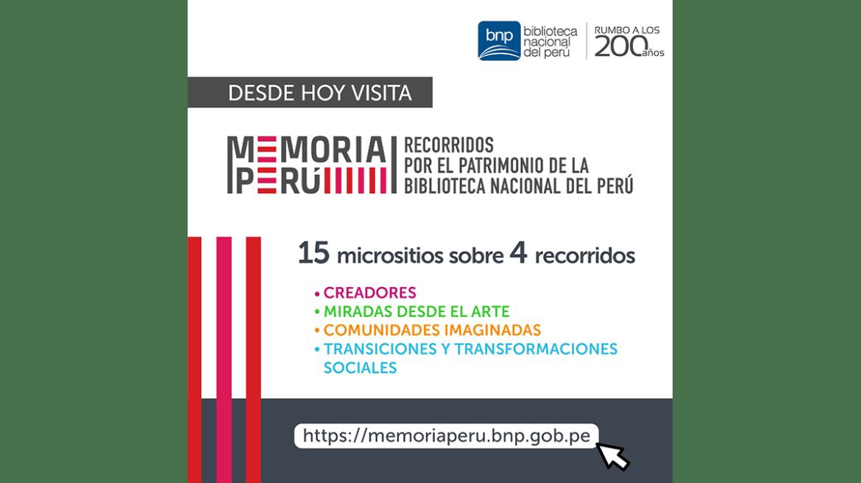 BNP presenta la plataforma «Memoria Perú. Recorridos por el patrimonio de la Biblioteca Nacional»