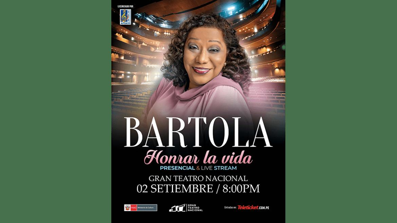 Bartola se presentará en el Gran Teatro Nacional